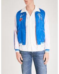 HTC Hollywood Trading Company - Day Of The Dead-embroidered Reversible Satin Bomber Jacket - Lyst