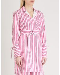 Mo&co. - Striped Cotton Shirt Dress - Lyst