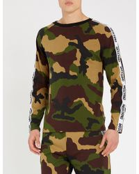 Moschino - Logo Tape Camouflage-print Stretch-cotton Top - Lyst