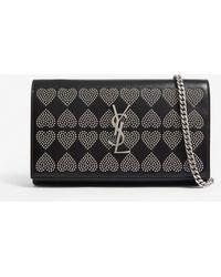 Saint Laurent - Ladies Black Studded Heart Wallet-on-chain - Lyst