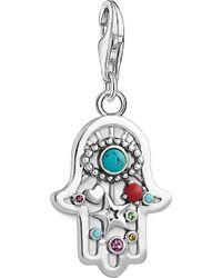 Thomas Sabo - Charm Club Hand Of Fatima And Nazar's Eye Silver Charm Pendant - Lyst