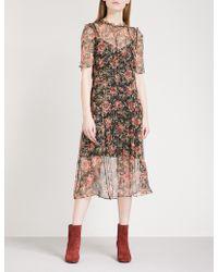 Sandro - Pleated Floral-print Chiffon Midi Dress - Lyst