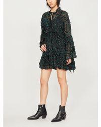 The Kooples - Metallic-devoré Silk-crepe Dress - Lyst