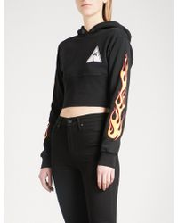Palm Angels - Palms And Flames Cotton-jersey Hoody - Lyst