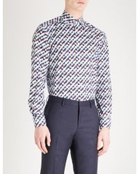 Eton of Sweden - Geometric Pattern Slim-fit Cotton Shirt - Lyst