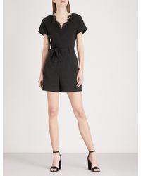 Claudie Pierlot | Lace-trim Cotton-jersey Playsuit | Lyst