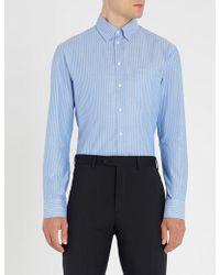 Emporio Armani - Herringbone-pattern Modern-fit Cotton Shirt - Lyst