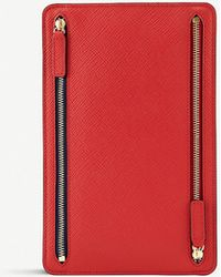 Smythson Panama Cross-grain Leather Zip Currency Case - Red