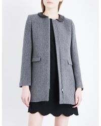 Claudie Pierlot | Faux-leather Collar Wool And Cashmere-blend Coat | Lyst