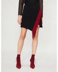 David Koma - Fringe-trimmed Wool-blend Mini Skirt - Lyst