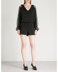 Stella McCartney - Sheer-sleeve Ruffled Crepe Playsuit - Lyst