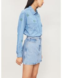 The Kooples Floral-embroidered Denim Shirt