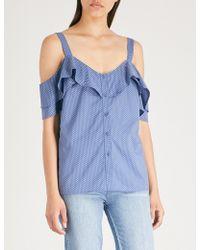PAIGE - Cleva Cold-shoulder Polka-dot Cotton Top - Lyst