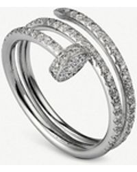 Cartier - Juste Un Clou 18ct White-gold And Diamond Double Ring - Lyst