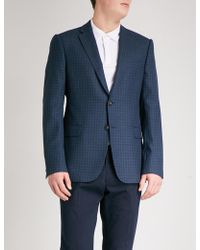Armani - Checked Tailored-fit Wool Jacket - Lyst
