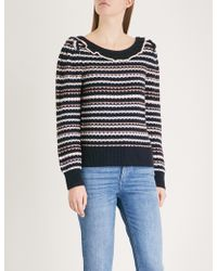 Claudie Pierlot - Frill-detail Striped Wool-blend Jumper - Lyst