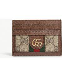 9210cdf883d Gucci - Women s Beige GG Supreme Cardholer Card Holder - Lyst