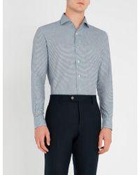 Corneliani - Houndstooth-patterned Regular-fit Cotton Shirt - Lyst