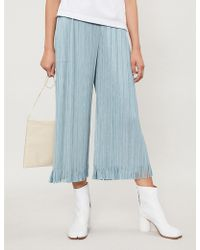 Pleats Please Issey Miyake - Fringe Wide-leg Cropped Pleated Trousers - Lyst