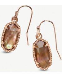 Kendra Scott - Lee 14ct Rose Gold-plated And Brown Mother-of-pearl Earrings - Lyst