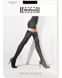 Wolford Fatal 80 Seamless Stay Up Luxury Opaque Thigh High Hold Ups