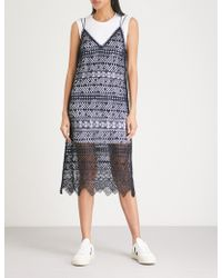 Mo&co. - Embroidered Lace And Cotton-jersey Dress - Lyst