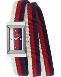 Gucci - Ya147502 G-frame Fabric Strap Stainless Steel Quartz Watch - Lyst