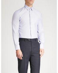 Emporio Armani - Striped Slim-fit Cotton Shirt - Lyst