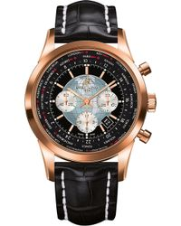 Breitling - Rb0510u4.bb63.761p Transocean Unitime 18ct Rose-gold And Alligator-leather Watch - Lyst