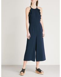 Whistles   Sonia Frill-detail Crepe Jumpsuit   Lyst