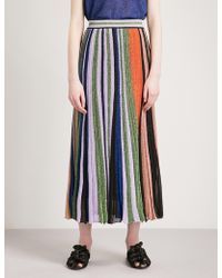 Missoni - Metallic-striped Knitted Midi Skirt - Lyst