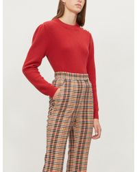 Claudie Pierlot - Mouchi Buttoned-shoulder Wool-blend Jumper - Lyst