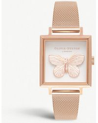 Olivia Burton - Square Dial 3d Butterfly Rose Gold-plated Watch - Lyst