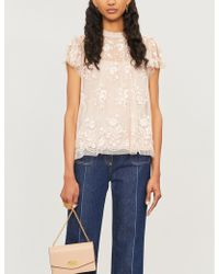 Needle & Thread - Ashley Floral-embroidered Chiffon Top - Lyst