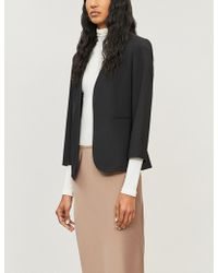 Theory - Womens Black Lindrayia Cropped Stretch-wool Jacket - Lyst