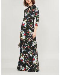 Erdem - Nia High-neck Floral-print Stretch-jersey Gown - Lyst