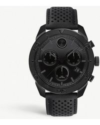 Movado - Bold Sport Chronograph Leather Strap Watch - Lyst