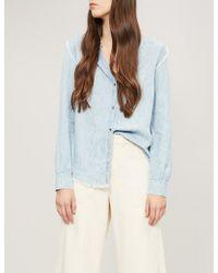 PAIGE - Alia Frayed Chambray Shirt - Lyst