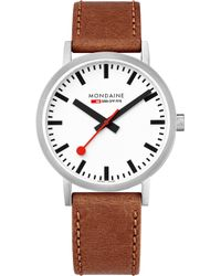 Mondaine - A660-30360-16sbt Sbb Classic Leather And Stainless Steel Watch - Lyst