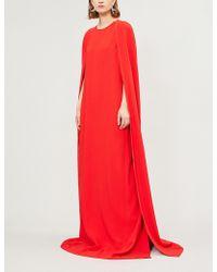 0e5635207222 Stella Mccartney Betta Lace-Trim Open-Back Gown in Blue - Lyst