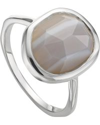 Monica Vinader - Siren Sterling Silver And Grey Agate Medium Stacking Ring - Lyst
