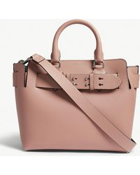 Burberry - Dusty Rose Pink Marias Small Grained Leather Tote Bag - Lyst d08405aad1701