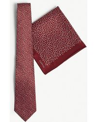 Lanvin - Contrasting Triangle Silk Tie And Pocket Square - Lyst