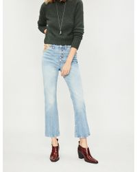 Free People - Floral-embroidered Straight High-rise Jeans - Lyst