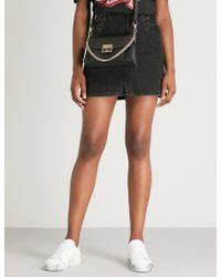 Givenchy - Lightning Bolt-motif Denim Mini Skirt - Lyst