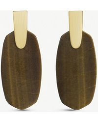 Kendra Scott - Aragon 14ct Gold-plated And Brown Tiger's Eye Drop Earrings - Lyst