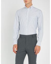 Drake's - Bengal Striped Slim-fit Cotton Oxford Shirt - Lyst