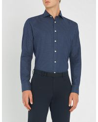 Smyth & Gibson - Polka Dot Slim-fit Brushed-cotton Shirt - Lyst