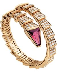 BVLGARI - Serpenti 18kt Pink-gold And Diamond Bracelet - Lyst