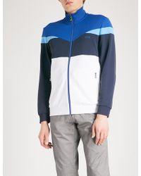 BOSS Green - Colour-blocked Jersey Zip-up Sweatshirt - Lyst